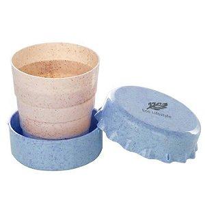 Copo Dobrável tampinha de garrafa 120 ml - azul