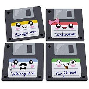 Jogo de Porta Copos Floppy Disk Disquetes Bebidas - 4 peças