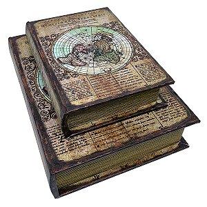 Kit Caixa Livro Decorativa Mapa Antigo Retrô - 2 peças