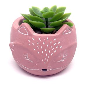 Vasinho Decorativo Raposinha planta suculenta artificial - rosa
