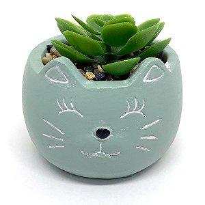 Vasinho Decorativo Gatinho planta suculenta artificial - verde