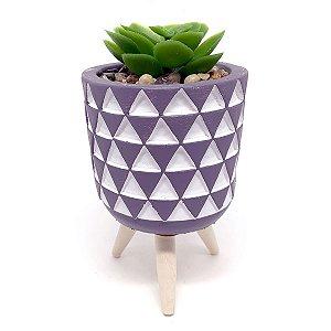 Vasinho Decorativo Triângulos planta suculenta artificial - cinza