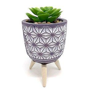 Vasinho Decorativo planta suculenta artificial - cinza