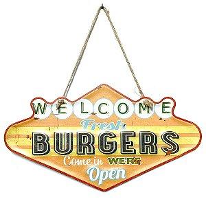 Placa de Metal Decorativa Welcome Fresh Burgers