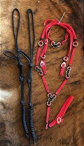 Kit 2 cabrestos + 1 peitoral de cordinha + 1 cabeçada de cordinha + rédea de cordinha