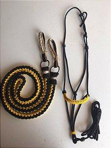 Cabresto de corda 7 nós e Rédea de algodão trançada