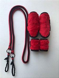 Rédea de corda trançada + caneleira de pelúcia