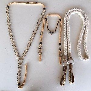 Kit de peitoral e cabeçada de cordinha bege com marrom + rédea de algodão trançada