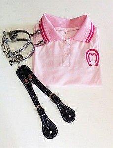 Kit Camisa Mangalarga Rosa + Espora Trançada + Correia Com Aplique