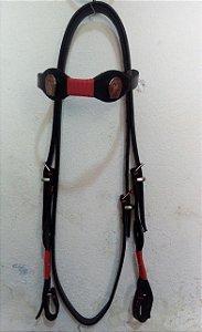 Cabeçada couro  trança em corda vermelha