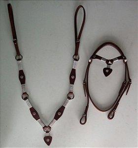 Conjunto peitoral e cabeçada de coração havana