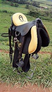 Sela australiana assento amarelo +Perneira neoprene BRINDE