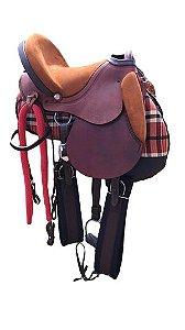 Sela de pista de camurça para cavalgada