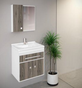 Móvel para Banheiro Kit Vegas 50 cm Branco c/ Nogal Palermo São João