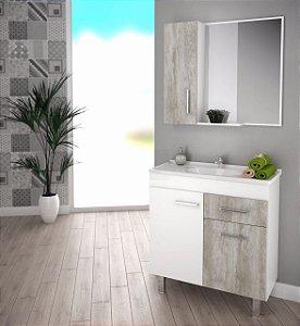 Móvel para Banheiro Kit Cancún Branco c/ Calcare São João