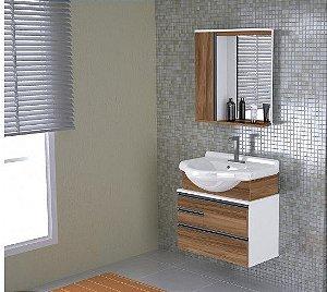 Móvel para Banheiro Kit Firenze Suspenso 83,5cm Nogal/Sevilha Rorato