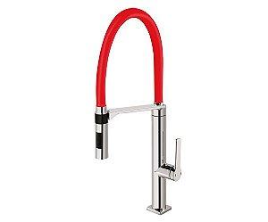 Misturador Monocomando Para Cozinha de Mesa Chrome/Red Docol