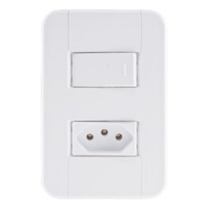 Conjunto 4X2 1 interruptor simples 10A 250V 1 tomada 2P+T 10A 250V Tramontina