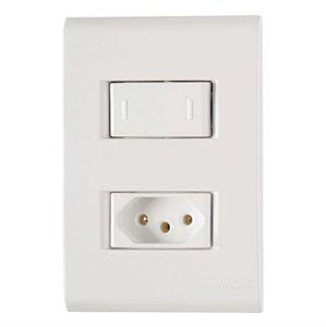 Conjunto 4X2 1 interruptor paralelo 10A 250V 1 tomada 2P+T 10A 250V Tramontina