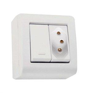 Conjunto caixa 1 interruptor simples 10A 250V + 1 tomada 2P+T 10A 250V Tramontina