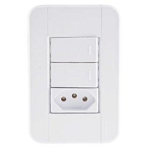 Conjunto 4X2 2 interruptores simples 10A 250V 1 tomada 2P+T 10A 250V Tramontina