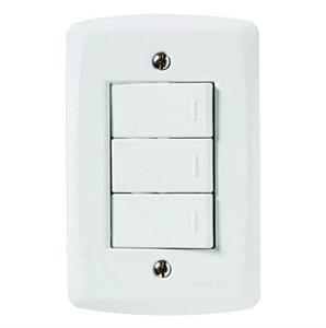 Conjunto 4X2 3 interruptores simples 10A 250V Tramontina