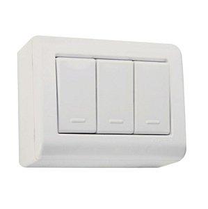 Conjunto caixa 3 interruptores simples 10A 250V Tramontina