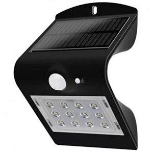 Arandela Solar Led 1,5w 6500k Sensor de Movimento Preta Demi