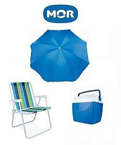 Kit para Praia MOR: Cadeira de Praia + Guarda-Sol Fashion + Caixa Térmica 34 Litros