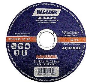 "Disco Corte Inox 4.1/2"" X 1,0 X 7/8 A54TB2B Azul Hagader"