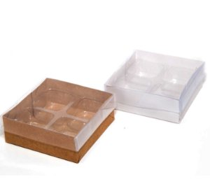 Caixas para 04 doces c/20 unidades (altura 3 cm)