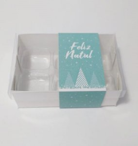 Caixa para 06 doces tema Natal (pacote c/20 unidades)