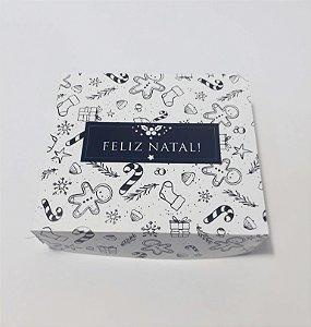 Caixa para 09 doces tema Natal toda em papel (pacote c/20 unidades)