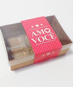 Caixa para 6 doces com cinta Amo Você Pct c/20 unidades