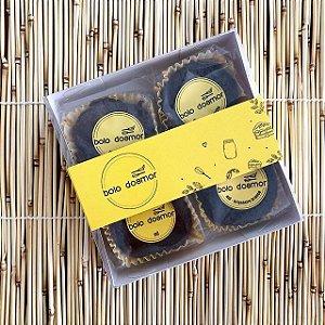 Caixa para 04 Brownies com cinta Personalizada - Kit com 100 unidades