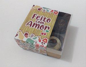 """Caixa para 04 doces com Cinta """"Feito com Amor"""" - Pct c/ 20 unidades"""