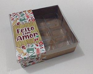 """Caixa para 9 doces com Cinta """"Feito com Amor"""" - Pct c/ 20 unidades"""