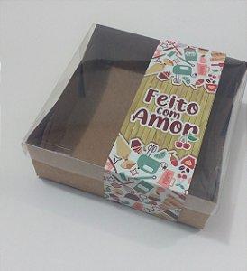 """Caixa para 4 brownies com Cinta """"Feito com Amor"""" - Pct c/ 20 unidades"""