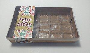 """Caixa para 15 doces com Cinta """"Feito com Amor"""" - Pct c/ 20 unidades"""