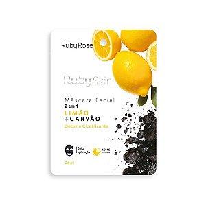 Máscara Facial de Tecido Ruby Skin Limão e Carvão - Ruby Rose