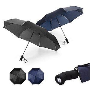 Guarda-chuva dobrável Poliéster Dobrável em 3 seções c/ lanterna na pega (incluso 2 pilhas CR2032) Fornecido em bolsa