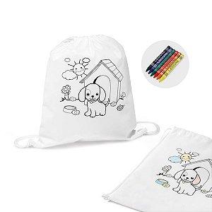 Sacola tipo mochila para colorir Non-woven: 80 g/m² Com desenho impresso e bolso interior 6 gizes de cera inclusos