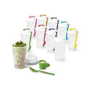Copo p/ Salada PP c/ garfo e molheira - 850 ml - Apta p/ Microondas (retirar a tampa)