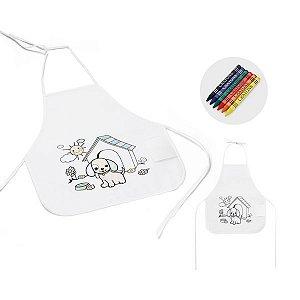 Avental de criança para colorir Non g/m² Com desenho impresso e bolso lateral 6 gizes de cera inclusos-woven: 80