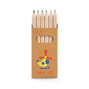 Caixa de cartão com 6 mini lápis de cor Cartão
