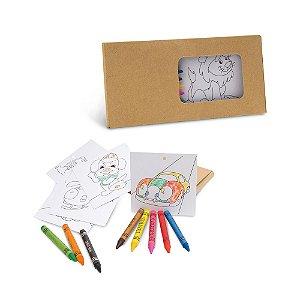 Kit para pintar em caixa de cartão Cartão Incluso 8 gizes de cera e 8 cartões para pintar e pendurar