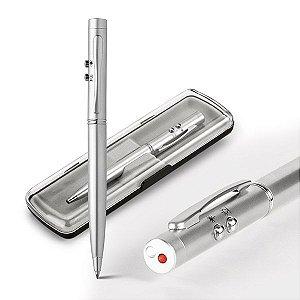 Esferográfica Metal Com ponteira laser e LED Incluso 3 pilhas LR41 1,5km de escrita Em estojo com forro de veludo