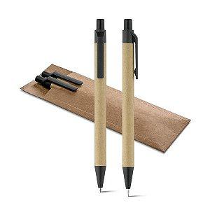 Conjunto de esferográfica e lapiseira Papel kraft Com clipe e ponteira de plástico Lapiseira: grafite 05 Com bolsa em cartão