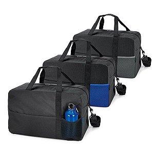 Bolsa esportiva 600D Fundo com placa semi-rígida Bolso frontal com fecho e bolso em tela Alça de ombro ajustável, com reforço Squeeze não incluso