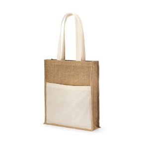 Sacola Juta: 240 g/m² Bolso frontal 100% algodão: 140 g/m² Alças de 65 cm